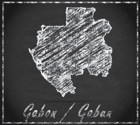 gabon: Map of gabon as chalkboard Stock Photo