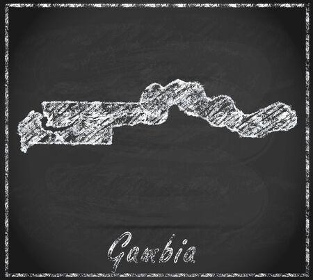gambia: Map of Gambia as chalkboard Stock Photo