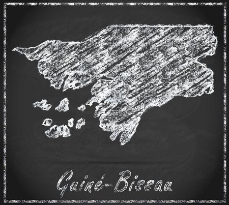 guinea bissau: Map of Guinea Bissau as chalkboard