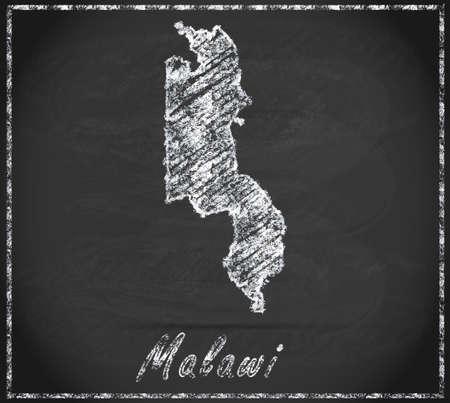 malawi: Map of Malawi as chalkboard Stock Photo