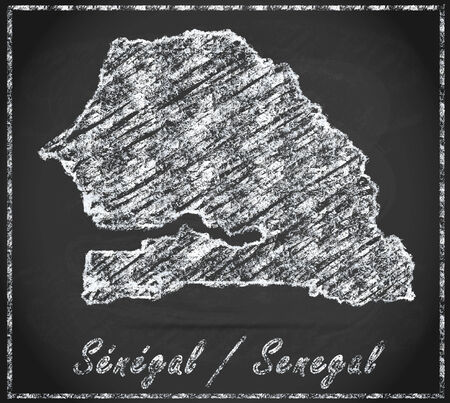 senegal: Map of Senegal as chalkboard Stock Photo