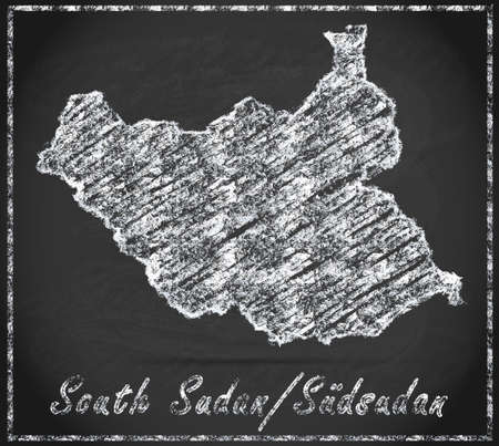 south sudan: Map of South Sudan as chalkboard