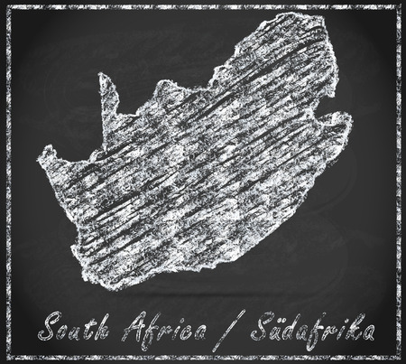 Map of south africa as chalkboard Stock Photo