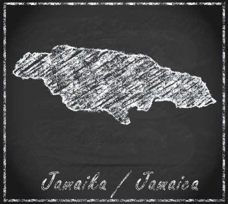 black maria: Map of Jamaica as chalkboard Stock Photo