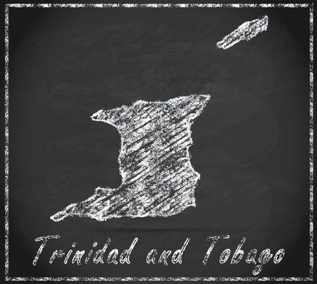tobago: Map of Trinidad and Tobago as chalkboard