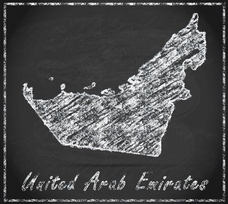 emirates: Map of United Arab Emirates as chalkboard