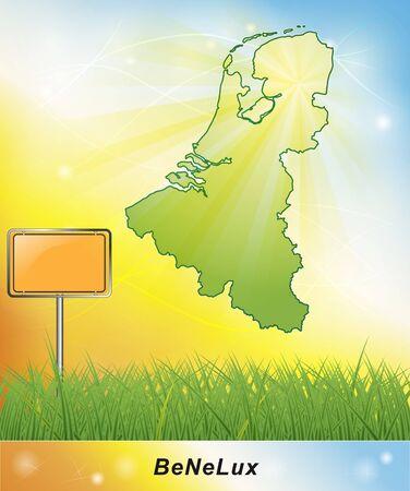 Kaart van de Benelux-landen Stockfoto