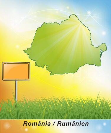 romania: Map of Romania Stock Photo