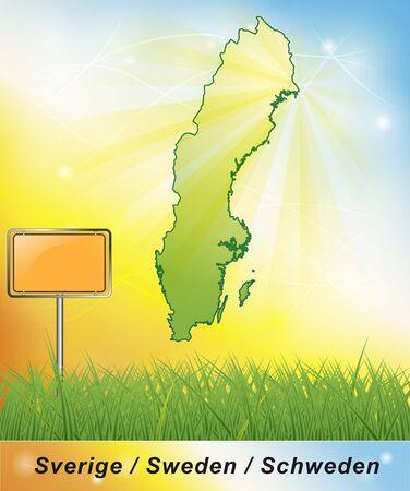 sverige: Map of Sweden Stock Photo
