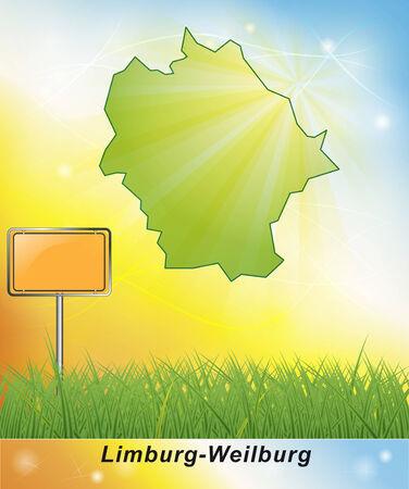 limburg: Map of Limburg-Weilburg Stock Photo