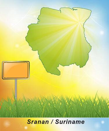suriname: Kaart van Suriname