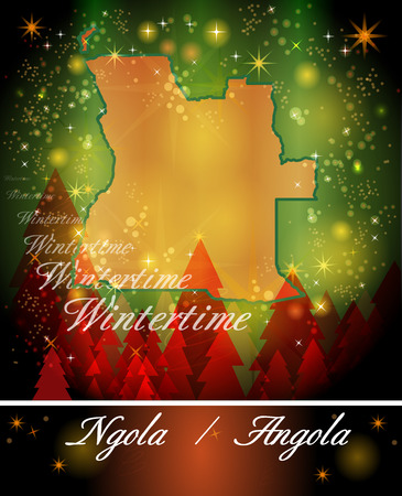 map of angola: Map of angola in Christmas Design