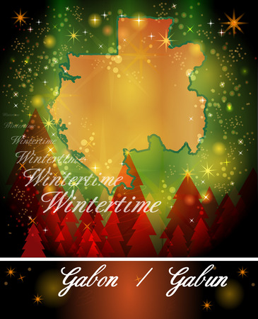 gabon: Map of gabon in Christmas Design
