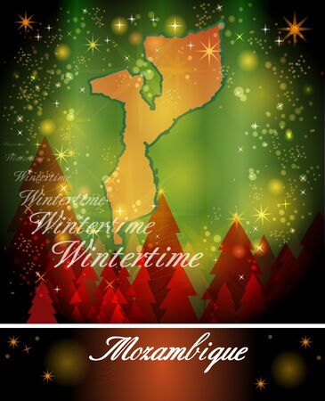 christmassy: Map of mozambique in Christmas Design Stock Photo