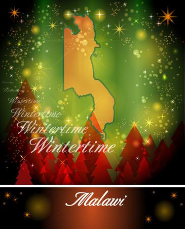 malawi: Map of Malawi in Christmas Design