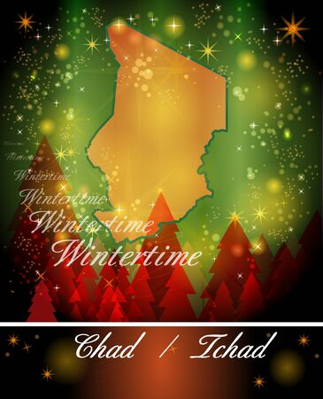 christmassy: Map of Chad in Christmas Design Stock Photo