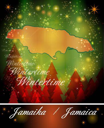 black maria: Map of Jamaica in Christmas Design