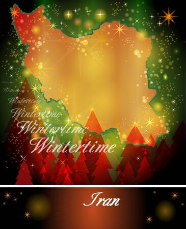 christmassy: Map of Iran in Christmas Design Stock Photo