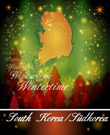 christmassy: Map of South Korea in Christmas Design