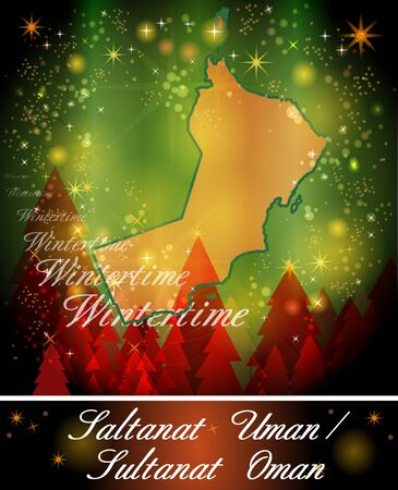 christmassy: Map of Oman in Christmas Design