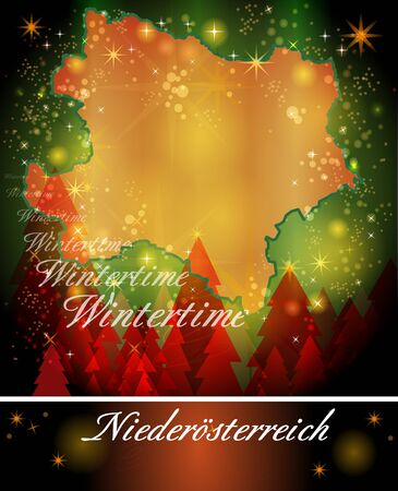 lower: Map of Lower Austria in Christmas Design