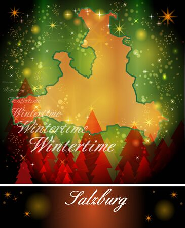 canton: Map of salzburg in Christmas Design