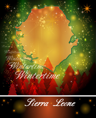 sierra leone: Map of sierra leone in Christmas Design