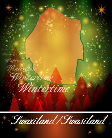 swaziland: Map of swaziland in Christmas Design Stock Photo