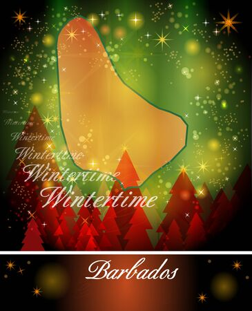 christmassy: Map of Barbados in Christmas Design