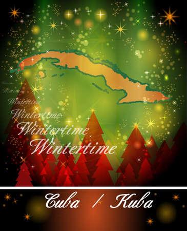 holguin: Map of Cuba in Christmas Design