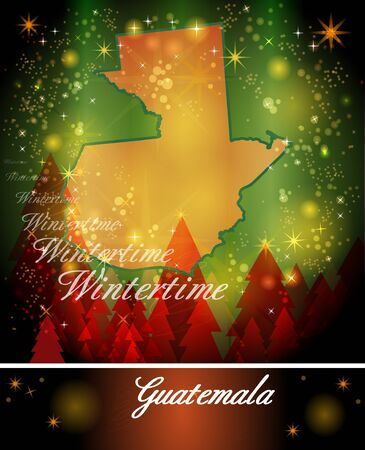 christmassy: Map of Guatemala in Christmas Design
