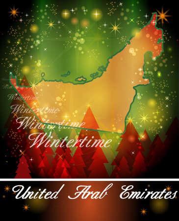 christmassy: Map of United Arab Emirates in Christmas Design