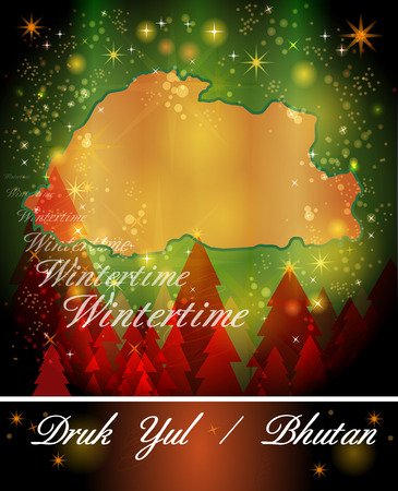 christmassy: Map of bhutan in Christmas Design