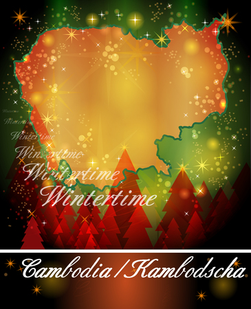 christmassy: Map of Cambodia in Christmas Design Stock Photo
