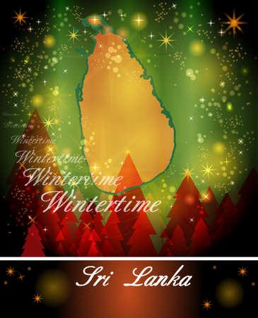 ceylon: Map of Sri Lanka in Christmas Design Stock Photo