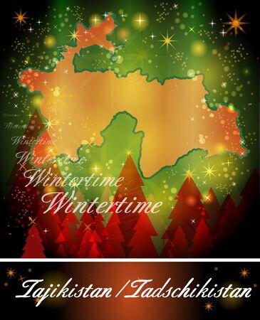 tajikistan: Map of tajikistan in Christmas Design