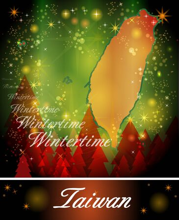 christmassy: Map of Taiwan in Christmas Design Stock Photo