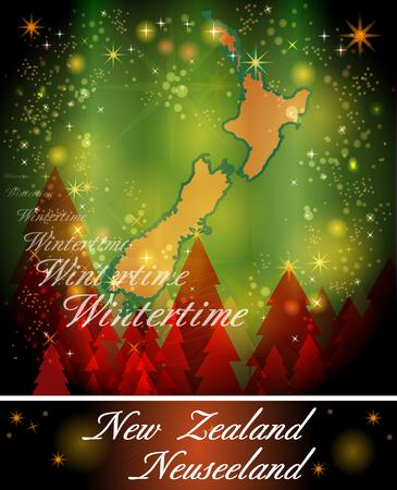 hamilton: Map of new zealand in Christmas Design