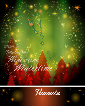 vanuatu: Map of Vanuatu in Christmas Design