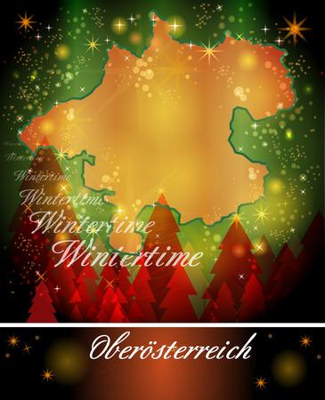 Map of upper Austria in Christmas Design photo