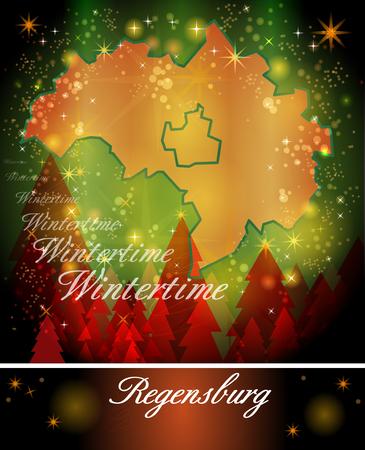 Map Of Regensburg In Christmas Design In Blue Stock Photo Picture - Regensburg map