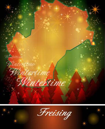 freising: Map of Freising in Christmas Design