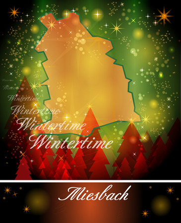 christmassy: Map of Miesbach in Christmas Design Stock Photo