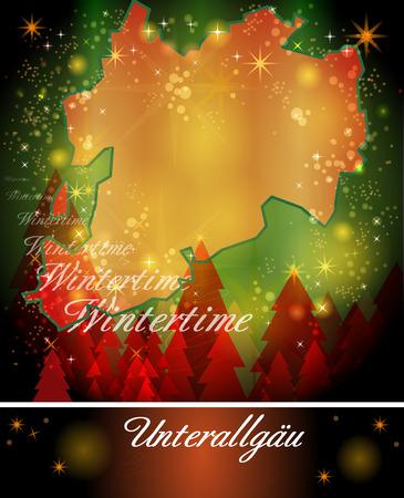 Kaart van landkreis unterallgäu in het Ontwerp van Kerstmis