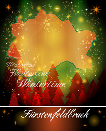 alling: Map of Fuerstenfeldbruck in Christmas Design Stock Photo