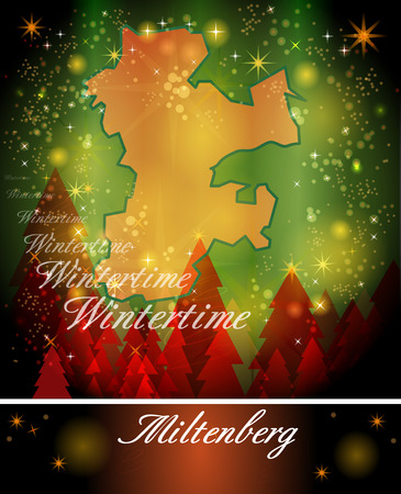 christmassy: Map of Miltenberg in Christmas Design Stock Photo