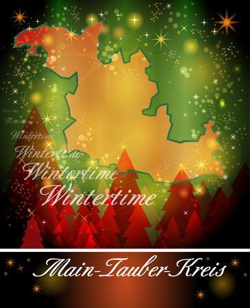 wertheim: Map of Main-Tauber-Kreis in Christmas Design