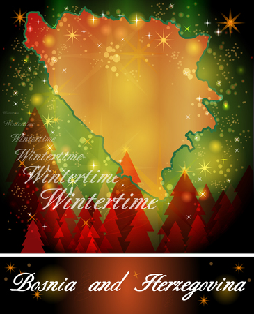 Map of Bosnia and Herzegovina in Christmas Design