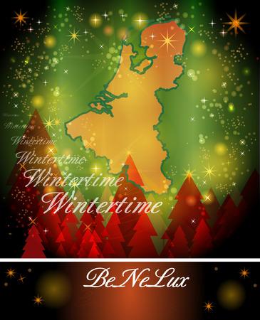 Kaart van de Benelux-landen in het Ontwerp van Kerstmis