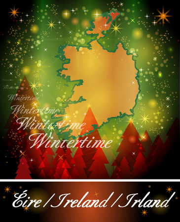 dun: Map of Ireland in Christmas Design Stock Photo